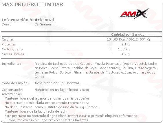 Max-Pro Protein Bar 24x35g Unidades