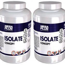 PACK DE 2 BOTES ISOLATE CONCEPT 2 kgs. AISLADO DE PROTEINA + SHAKER - MEGAPLUS
