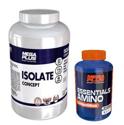 ISOLATE CONCEPT 2 kgs. AISLADO DE PROTEINA + ESSENTIALS AMINO 90 caps. - MEGAPLUS